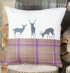 Winter Tweed Deer Family Cushion