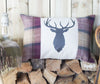 Plum Tweed and Linen Stag Head Cushion