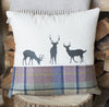 Spring Tweed Deer Family Tweed Cushion