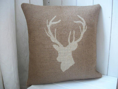 ' Stag's Head '  Hessian Cushion (Chestnut)