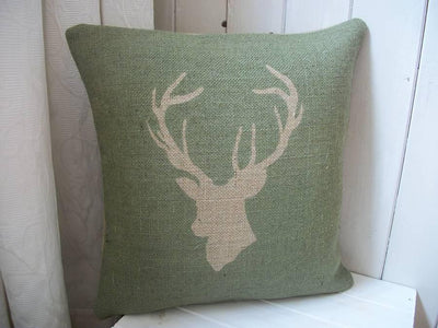 ' Stag's Head '  Hessian Cushion (Green)