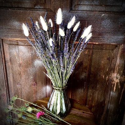 Dried Lavender & Bunny Tails Posy with Vase