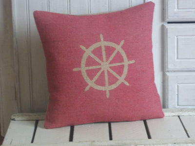 ' Nautical Ships Wheel ' Cushion (Red)