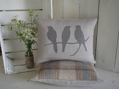 ' Bird On A Branch ' Linen Cushion (Charcoal Grey)
