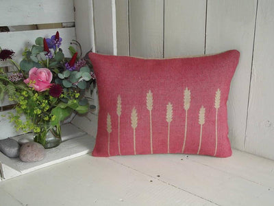 ' Cornfield ' Hessian Cushion (Red Background)