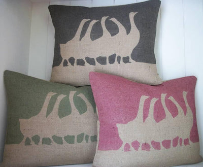 ' French Geese ' Cushion (Charcoal, Olive & Cranberry)