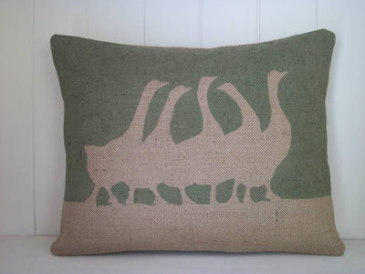 ' French Geese ' Cushion (Moss Green)