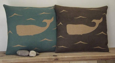' Moby Dick The Whale ' Cushions (Blue & Charcoal)