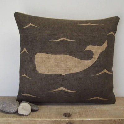 ' Moby Dick The Whale ' Cushion (Charcoal)