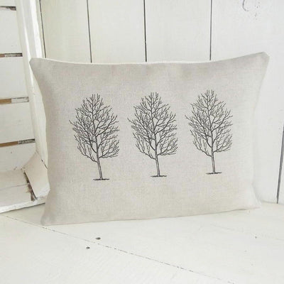 ' Triple Tree ' Natural Linen Cushion