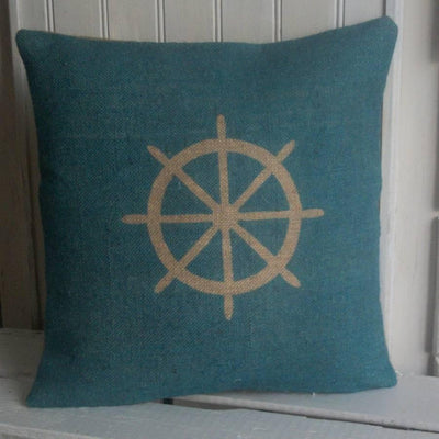 ' Nautical Ships Wheel ' Cushion (Blue)