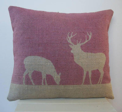 ' Stag and Deer ' Cushion (Cranberry)