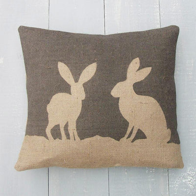' Country Hare ' Hessian Cushion (Charcoal)