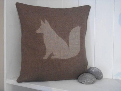 ' Rusty The Fox ' Hessian Cushion (Chestnut)