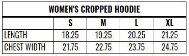 Women's Cropped Hoodie Sizing Chart