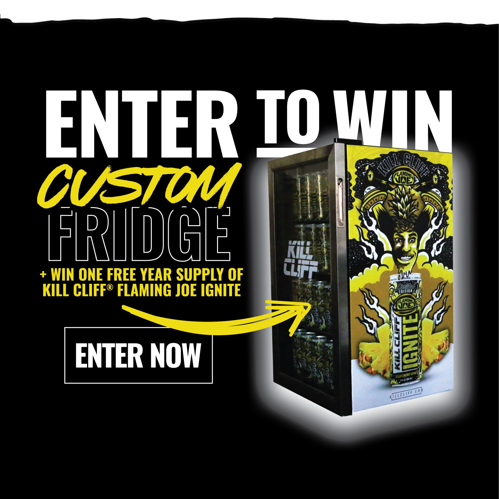 Enter to WIN a Kill Cliff Flaming Joe Fridge and a year supply of Flaming Joe Ignite