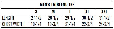 Men's Triblend Sizing Chart