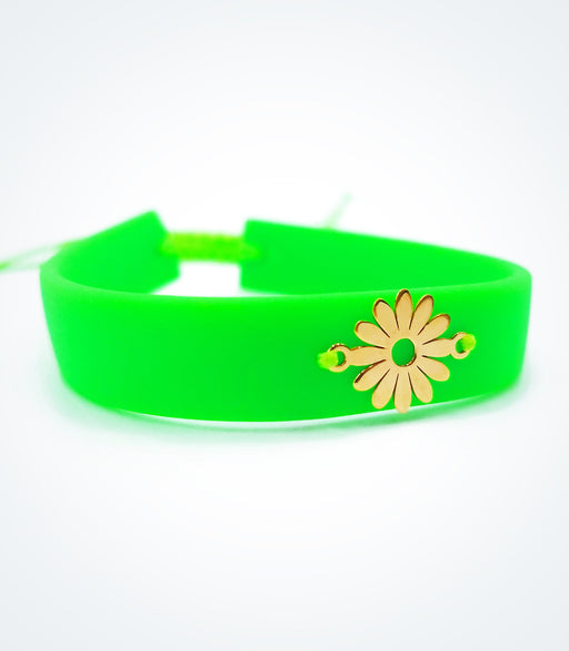Flower on green rubber bracelet