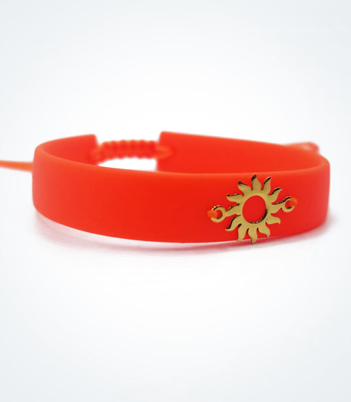 Sun on orange rubber bracelet