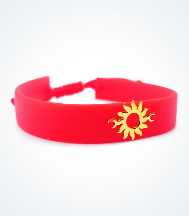 Sun on red rubber bracelet