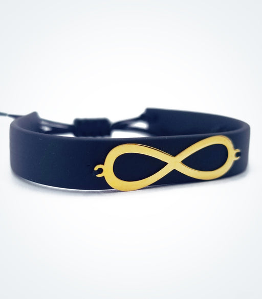 Infinity on black rubber bracelet