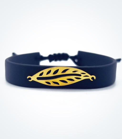 Leaf on black rubber bracelet