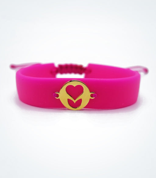 Heart flower on dark pink rubber bracelet