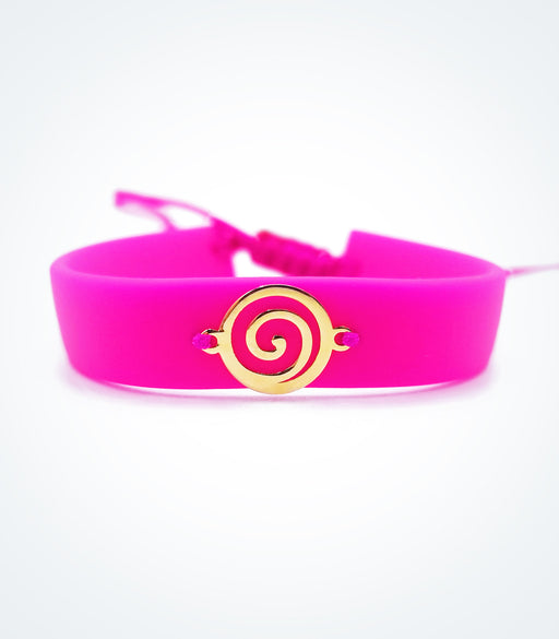 Heart Spiral on dark pink rubber bracelet