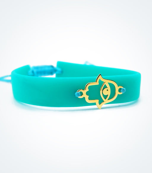 Fatima Hand on turquoise rubber bracelet
