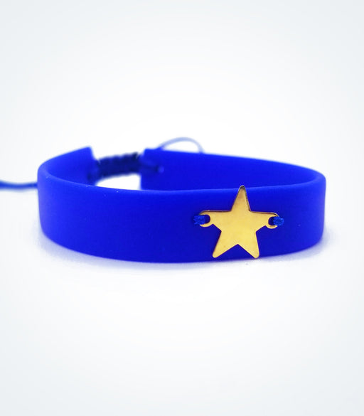 Full Star on dark blue rubber bracelet