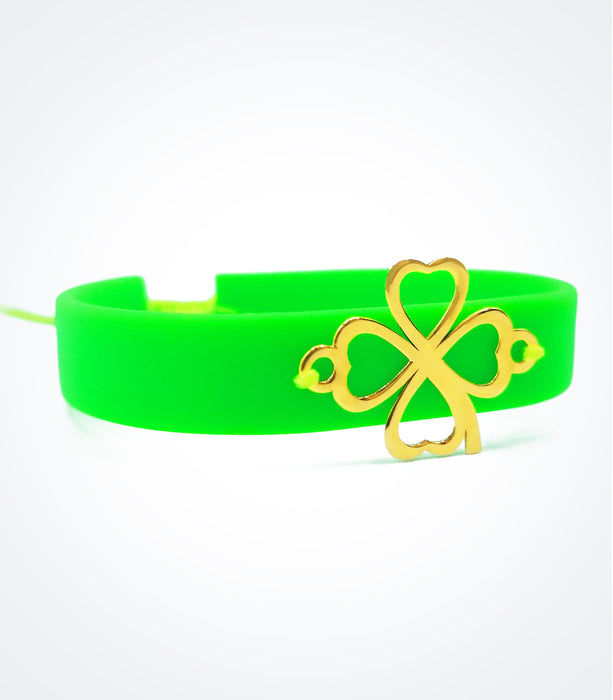 Clover on green rubber bracelet