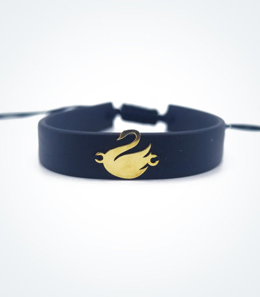 Swan on black rubber bracelet