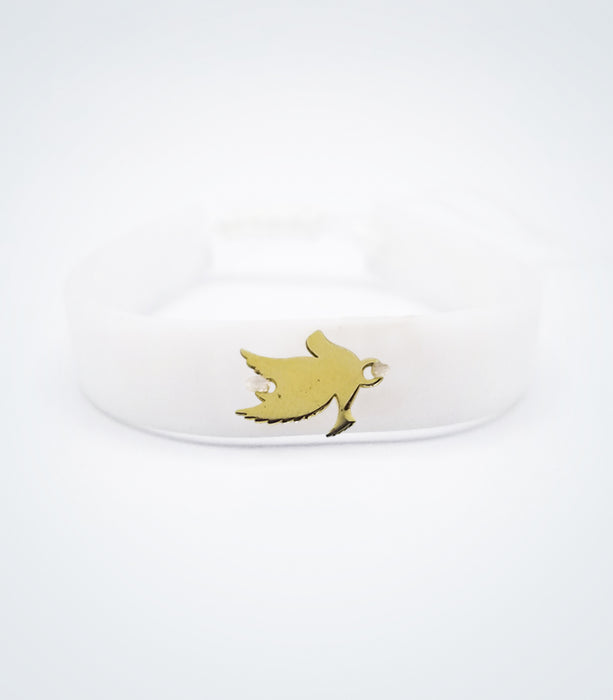 Dove on white rubber bracelet