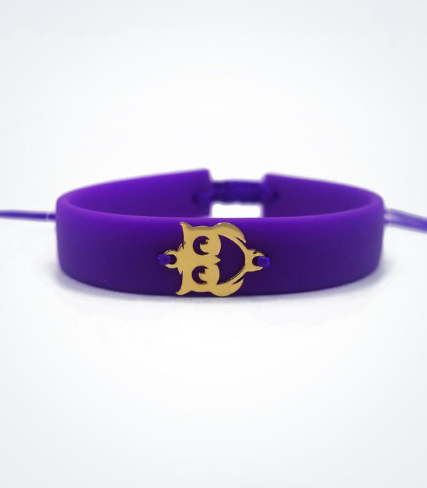 Owl on purple rubber bracelet