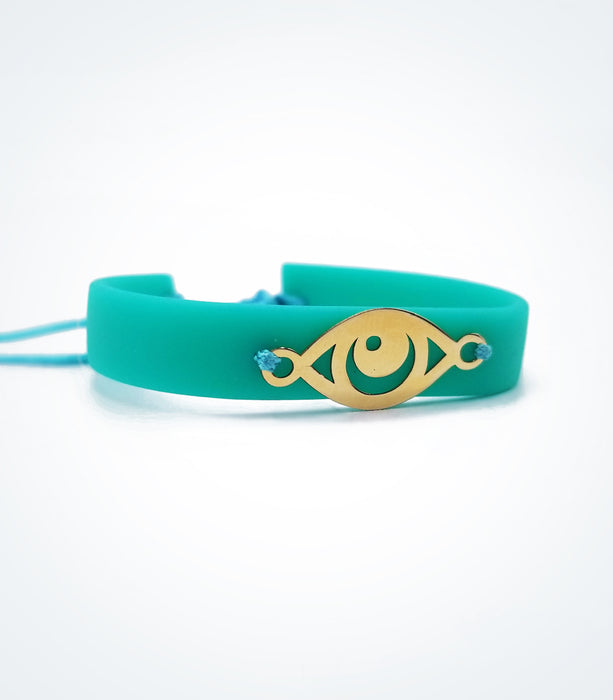 Eye on Turquoise rubber bracelet