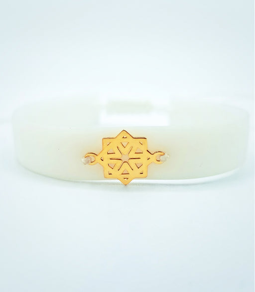 Islamic Design on white rubber bracelet