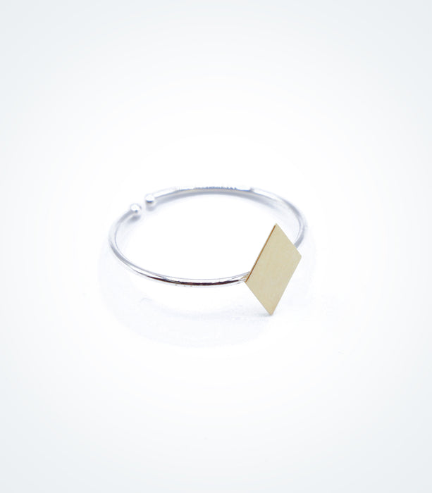 Yellow gold Lozenge motif on white gold ring wire
