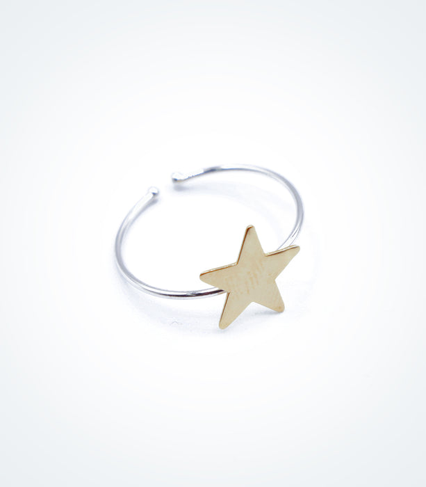 Yellow gold Star motif on white gold ring wire