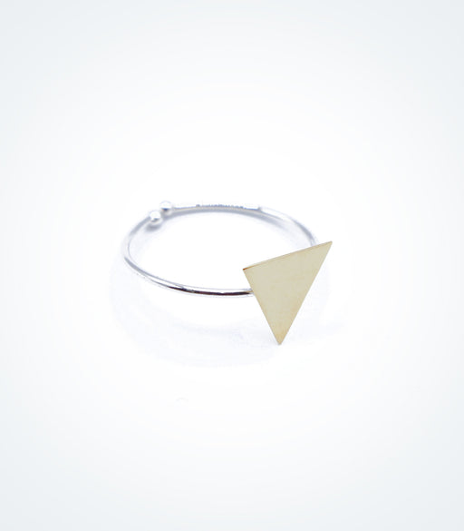 Yellow gold Triangle motif on white gold ring wire