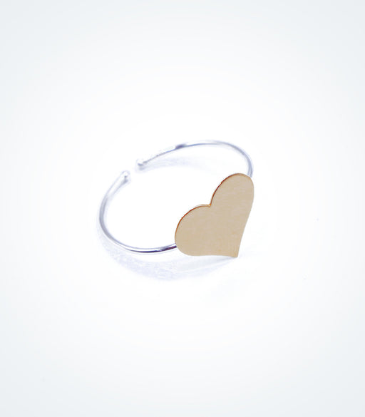 Yellow gold Heart motif on white gold ring wire