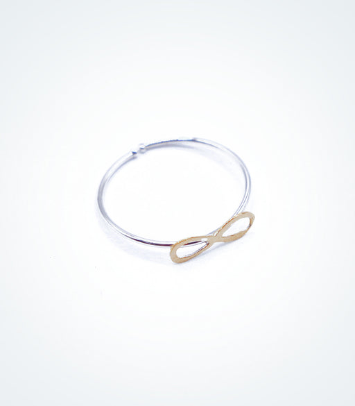 Yellow gold Infinity motif on white gold ring wire