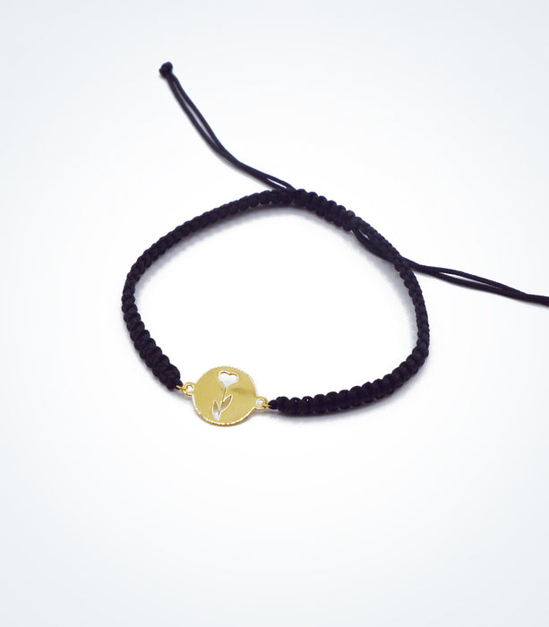 Rose motif on Shambala adjustable bracelet