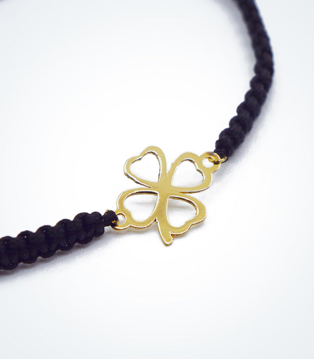 Clover motif on Shambala adjustable bracelet