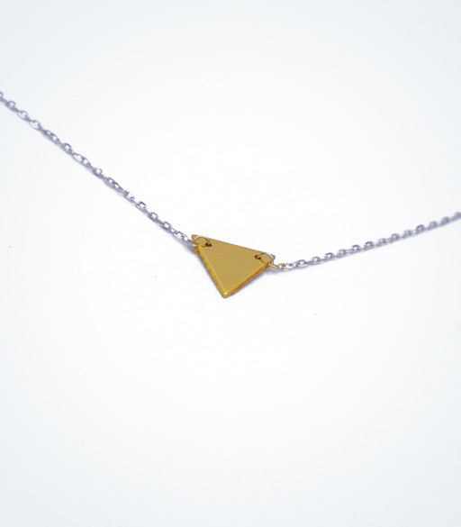 Yellow gold Triangle motif with a white gold chain necklace