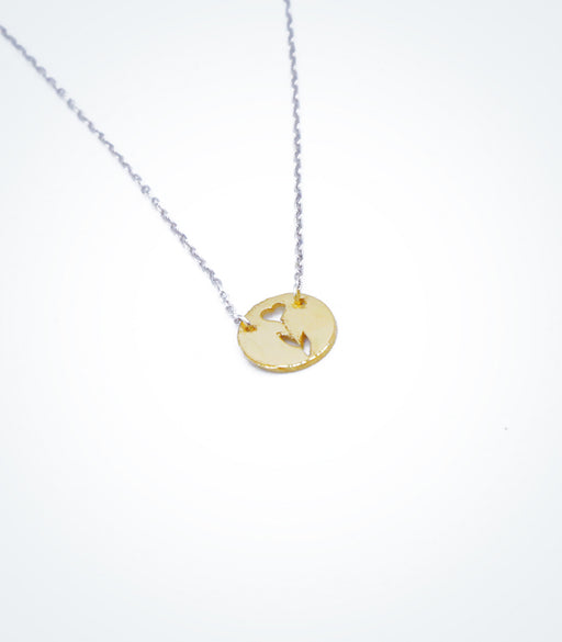 Yellow gold Flower Heart motif with a white gold chain necklace