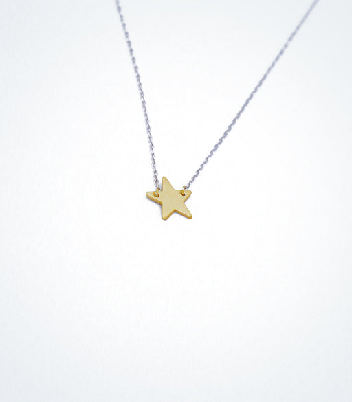 Yellow gold Star motif with a white gold chain necklace