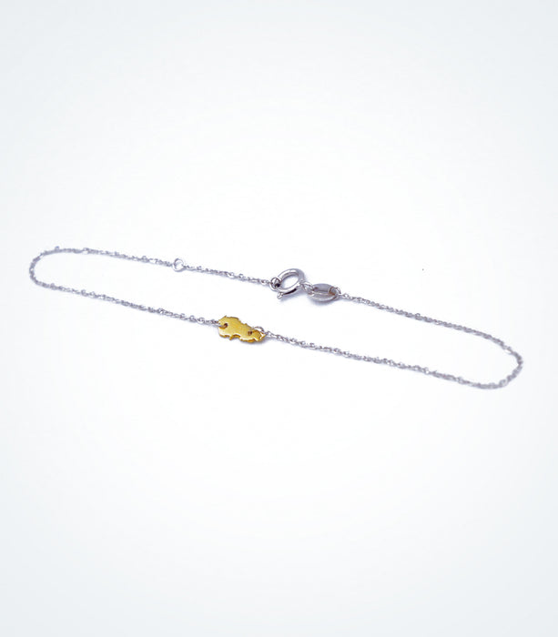 Yellow gold Map of Lebanon motif with a white gold chain bracelet
