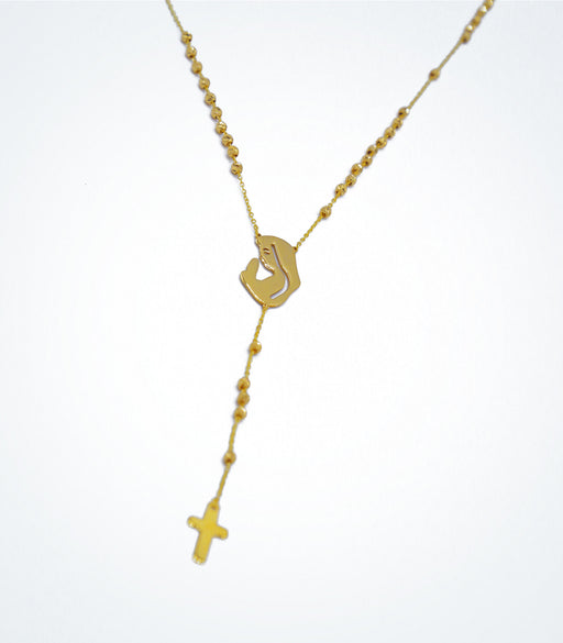 Yellow gold rosary with a praying profile of Virgin Mary and small cross