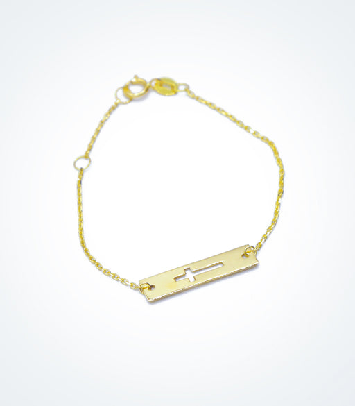Yellow gold children's bracelet with Plaque Cross motif