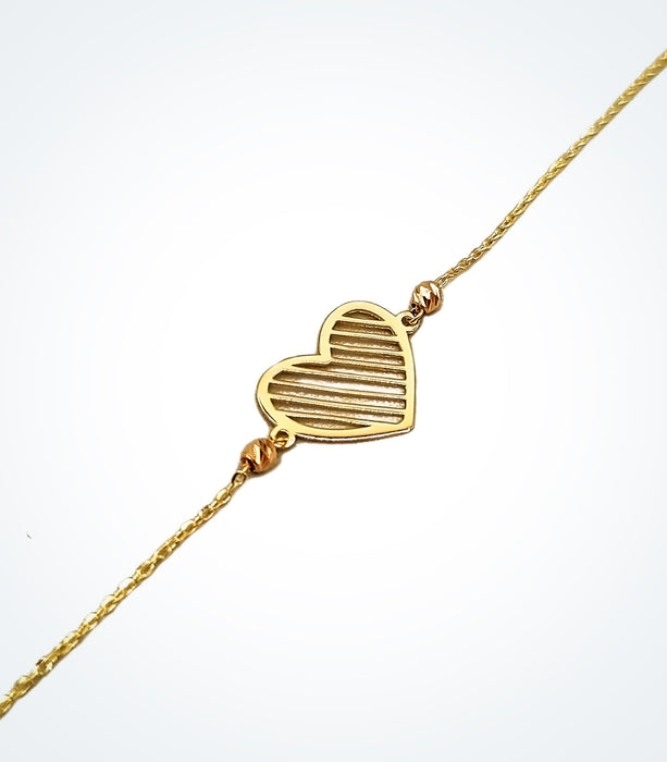 Love Bar heart bracelet with yellow gold and rose gold ball beads